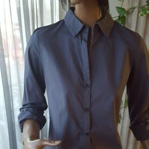 Old Navy top button down grey sz SM Tall